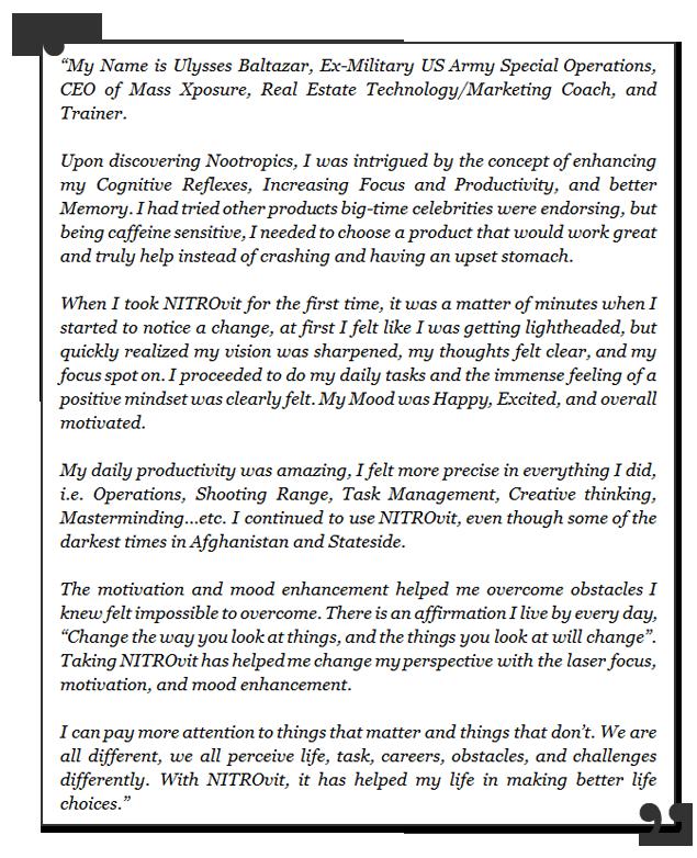 NITROvit testimonial