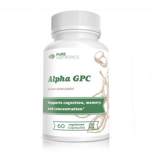alpha gpc pure nootropics bottle