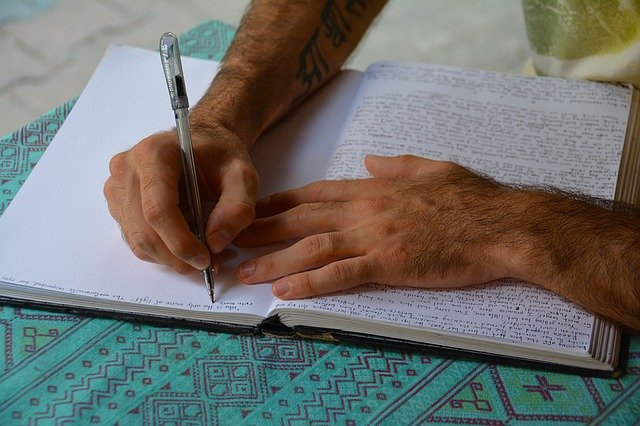 writing in journal or diary